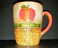 "Stoneware Mug 10 oz Apple Basketweave Browns 4""Tall x 3""Wide Vintage."