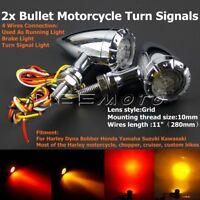 2Pcs 12V LED Bullet Brake Running Turn Signal Lights For Harley Chopper Bobber