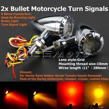 2x Chrome Bullet Motorcycle LED Brake Running Turn Signals Light For Harley Dyna