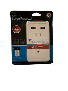2-outlet surge protector with 2 usb ports