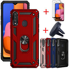 For Samsung Galaxy A20S Case Ring Stand Cover Full Screen Protector Car Holder