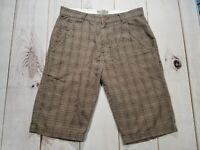 Split Mens Plaid Brown Pocket Shorts Casual Golf Skater Sk8r Knee-Length Size 33