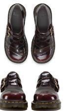 Doc Martens Cherry Red Tan Navy Allisa 2 buckle chunky heel shoe UK8 US10L
