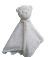 Carter's OS Baby's Teddy Bear Lovey Security Blanket White Stuffed Plush Rattle