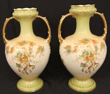 "ANTIQUE LATE MAERS ETON VASE SET GREEN GOLD FLOWERS LEAVES 12"" GILDED PORCELAIN"