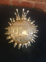 Vtg Christmas Ornament Handmade Bead Sequin String White Pearl Gold Pin Tiffany