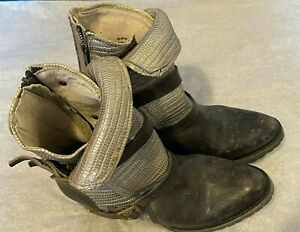 FREEBIRD by Steven APEX STONE MOTO BIKER Distressed Leather Boots Booties Size 8