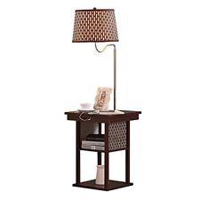 Brightech Madison LED Floor Lamp Swing Arm w/ Shade & Built In End Table