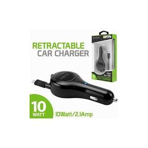 10 Watt 2.1 Amp Universal Micro USB Retractable Travel Auto Car Vehicle Charger