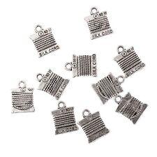 30PCS Tibetan Silver Cotton Reel Bead Charms Pendant Fit Jewelry Making 15*11mm