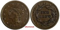US Copper 1842 Braided Hair Large Cent 1 c.