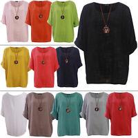 New Italian Ladies Summer Tunic Top Cotton Lagenlook Plain Long Sleeve Plus Size