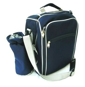 Deluxe Picnic Hamper Set for Two People in Navy Blue Shoulder Strap Carry Handle