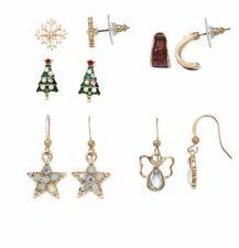 Christmas Tree Holiday Earring Set of 4 Snowflake Angel Hoop & Drop Nickel Free