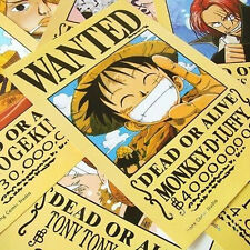 """11Pcs 8.3""""x5.7"""" One Piece Straw Hat Pirates+Shanks & Ace Wanted Anime Poster P"""