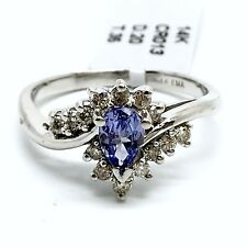 14k White Gold Tanzanite And Diamond Ring.