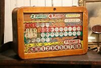 vintage Scoreboard Shuffle Board Coin Op Bowling Game Wood Box Double Sided sign