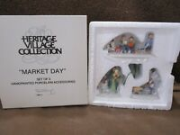Dept 56 Market Day 3pc Set / Heritage Village Collection  NIB