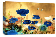 Le Reve Floral Wall Art Cream Blue White Canvas Poppy Flowers Abstract Panel