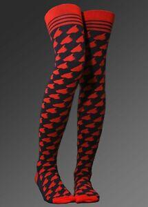 Bad Dragon Knee High Socks BD Duke Logo Stockings Large/XL Plus Size Red Black