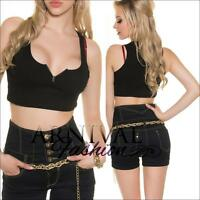 SEXY LADIES SLEEVELESS CROP TOP SHIRT XS S M L WOMENS SHORT zip up TOPS BLOUSE