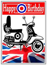 MOTOR SCOOTER, MODS, RETRO DESIGN HAPPY BIRTHDAY CARD FREE POST 1ST CLASS