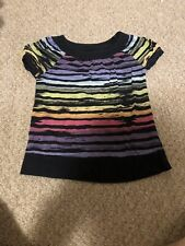 Girls Black And multi colored Stripe Shirt Size Small By Greendog