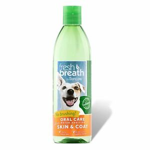 TropiClean Oral Dental Care Water Additive Plus Skin & Coat 473ml for Dog Cat