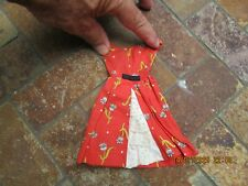Vintage Barbie Clothing, Red Flower Print Summer Dress