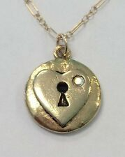NWT Mad Coin Rachel Abroms Antique Gold Swarovski Crystal Heart Keyhole Necklace