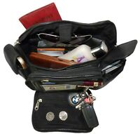 Black Genuine Leather Fanny Pack  2 Phone Waist Bag Travel Organizer Sac Big