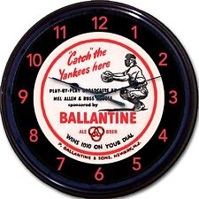 Ballantine Yankee Baseball Beer Coaster Wall Clock Allen Mickey Mantle Yankees