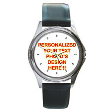 Personalized Custom Logo Design Photo Round Metal Leather Watch Free Shipping