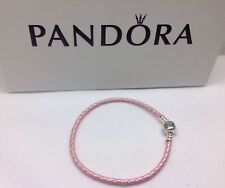 "Pandora "" Single Pink Leather"" 21CM/8.2"" Bracelet S925 Barrel Clasp # 590705CRP"