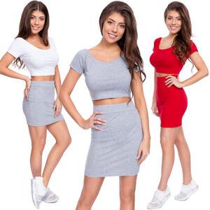 Womens Summer Set Crop Top+ High Waist Mini Skirt Bodycon Pencil Style Kit FZ134