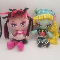 """Lot Of 2 Monster High Plush Dolls Lagoona Blue Draculaura 10"""" Freaky & Fabulous"""