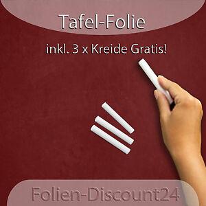 (EUR 7,42/m²) Tafelfolie Kreidetafel Folie Bordeaux 1M x 60cm inkl 3 Stk. Kreide