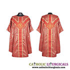 New Red Gothic Vestment Stole & Mass Set Clergy Chasuble Casula Casel