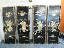 "Vintage 36"" x 12"" Oriental Geisha Girls In Mother of Pearl Relief Panels - Four"