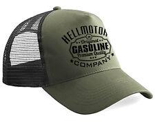 Hellmotors Gasoline Trucker Cap Hotrod Oldschool Rock n Roll Kappe Oliv V8 UScar