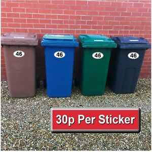 "4 x White/Black Wheelie Bin - House Number Stickers - Oval 4"" x 6.5"""