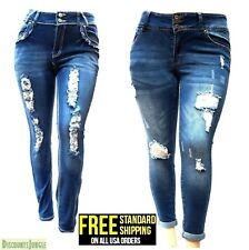 WOMENS PLUS SIZE Destroy Distressed RIPPED BLUE SKINNY DENIM JEANS PANTS N596-R