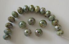 20 Czech firepolished glass beads, rondelle, grey/blue Picasso