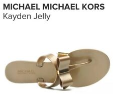 MICHAEL KORS KAYDEN GOLD JELLY BOW SANDALS - WOMENS - 5 / 38 - SLIP ONS FLAT NEW