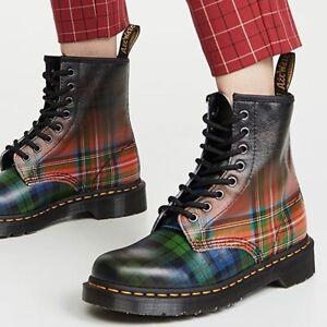 Dr. Martens 1460 Tartan Leather Ankle Boots Backhand Straw Grain UK 9 /EU 43