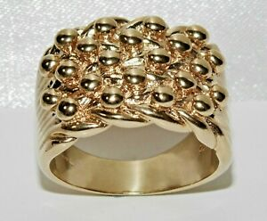 9ct Yellow Gold on Silver Heavy Keeper Ring - ALL SIZES AVAILABLE inc LARGE