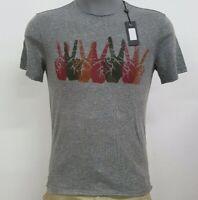 John Varvatos U.S.A. Grey Heather Peace Sign S/S Men's T-Shirt NWT $88 Choose Sz