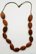 CHUNKY STATEMENT BROWN WOOD NECKLACE, 72cm LENGTH, GOOD CONDITION
