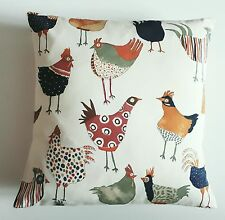 "New Chicken Cushion Cover & linen Backs Funky Chicks 16"" Hens & cockrills"