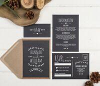 Rustic Chalkboard Wedding Invitation Set